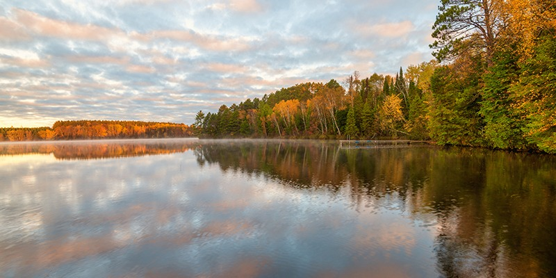 Beautiful lake photo with trees