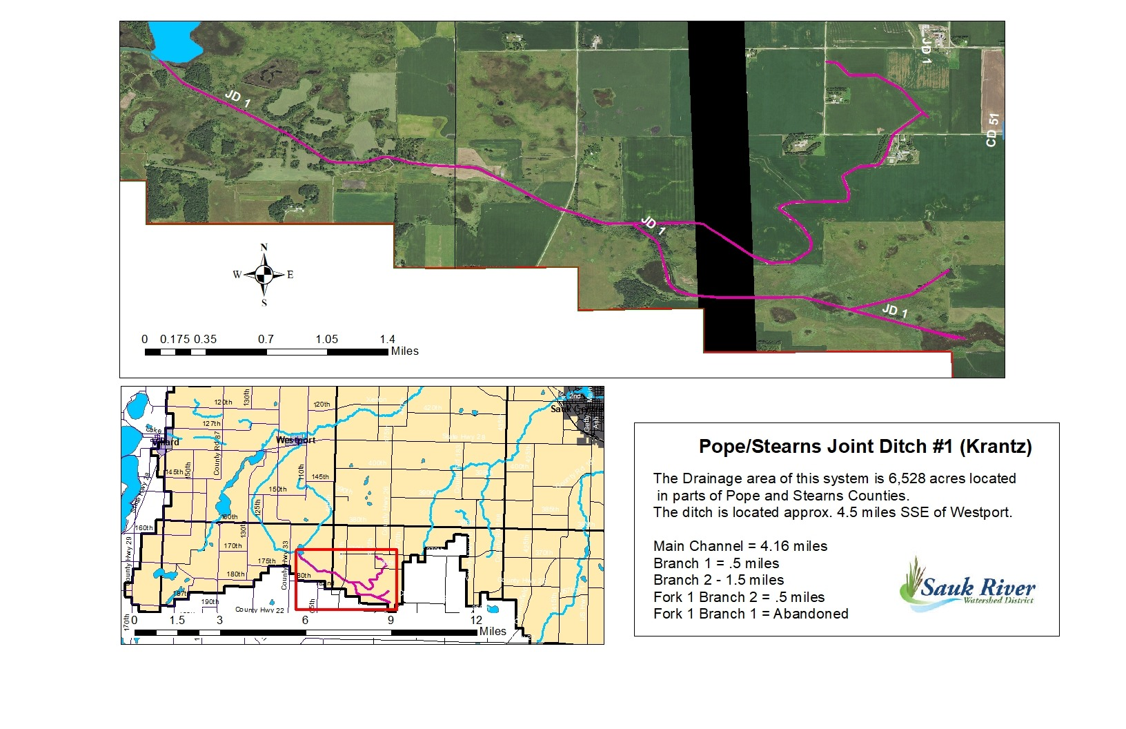 Sauk River Watershed Pope/Stearns Joint District County Ditch 1 (Krantz) Map