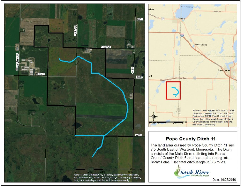 Sauk River Watershed District Pope County Ditch 11 map