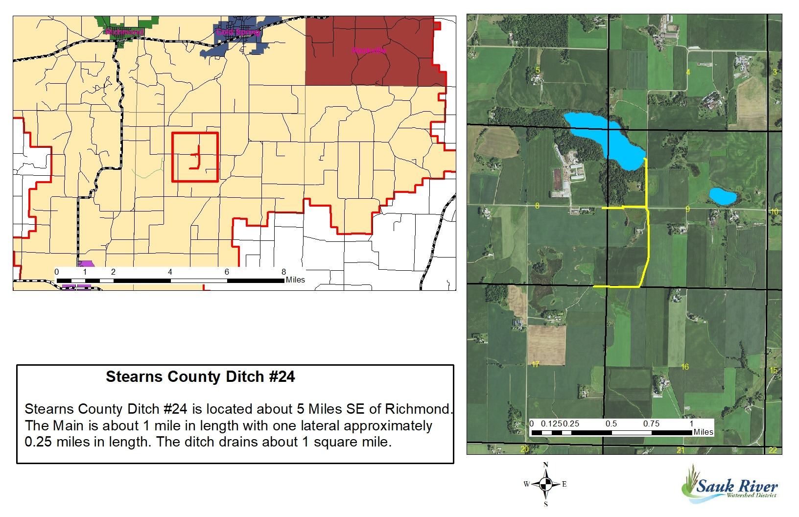 Sauk River Watershed District Stearns County Ditch 24 Map