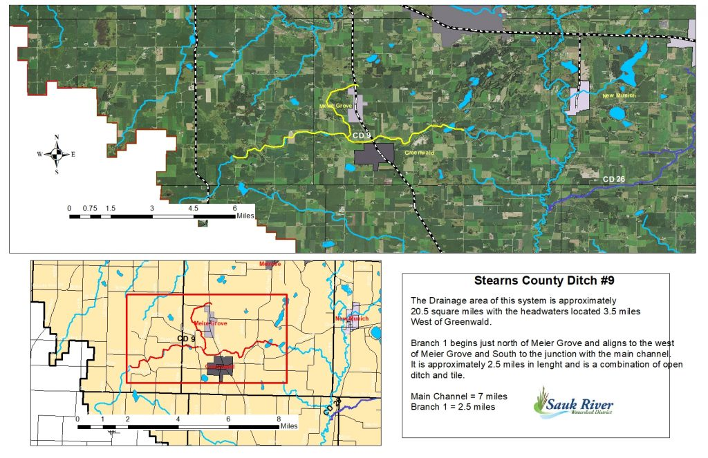 Sauk River Watershed Stearns District County Ditch Map