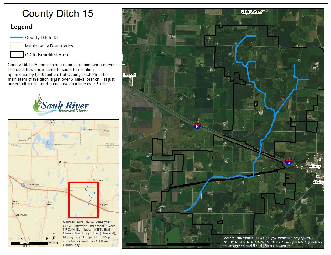 Sauk River Watershed District County Ditch 15 Map