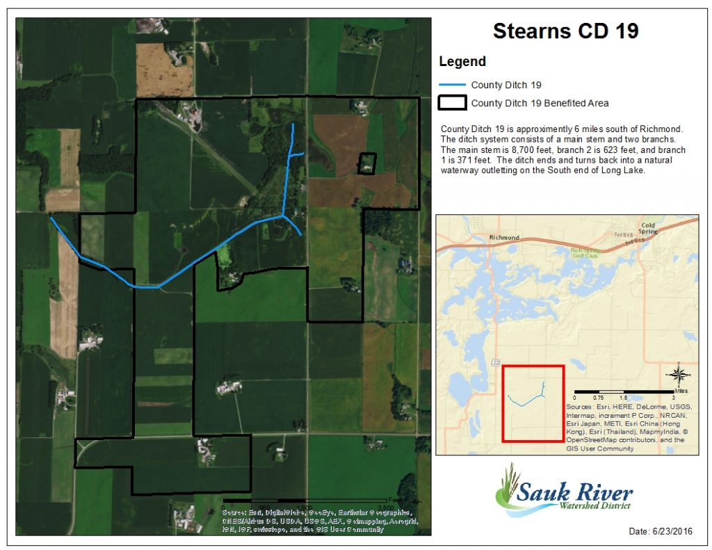 Sauk River Watershed District Stearns County Ditch 19 map