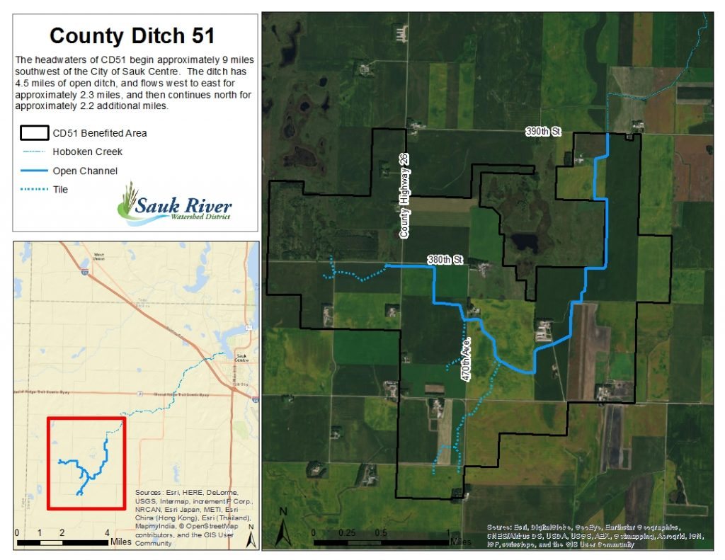 Sauk River Watershed District County Ditch 51 map