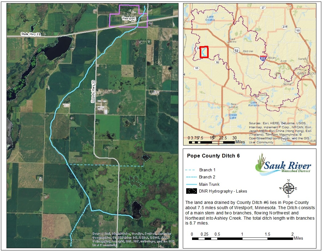 Sauk River Watershed District Pope County Ditch 6 Map